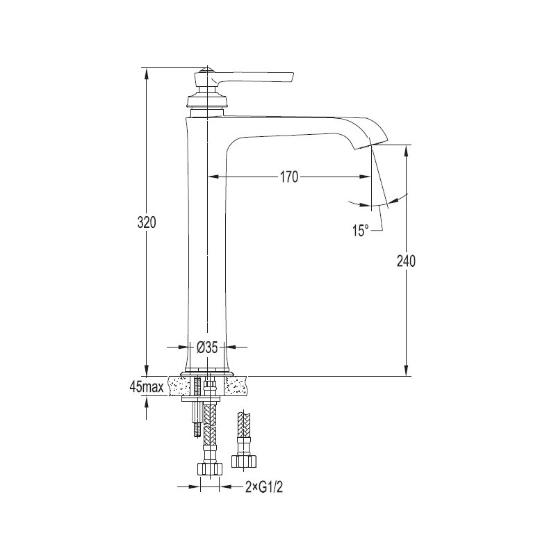 Omnires Armance AM5213/1 ORB bateria umywalkowa miedź