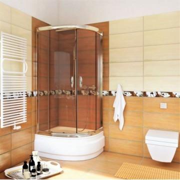 STYLIO  BK502KT+ Kabina półokrągła  90x90x170  profil chrom/szkło transparentne z powłoką CleanGLASS