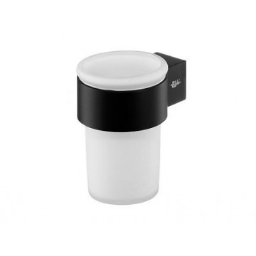 Bisk Futura Black Uchwyt z kubkiem pojedynczy czarna satyna/szkło 02959