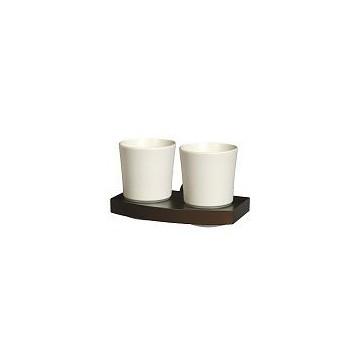 Bisk MADAGASKAR Szkalnka podwójna  nikiel/drewno/ceramika 00969