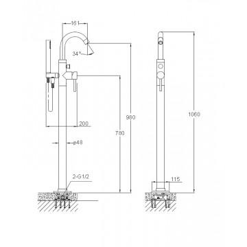 Blue Water DENVER DEN-BWP.090C bateria wannowa podłogowa chrom