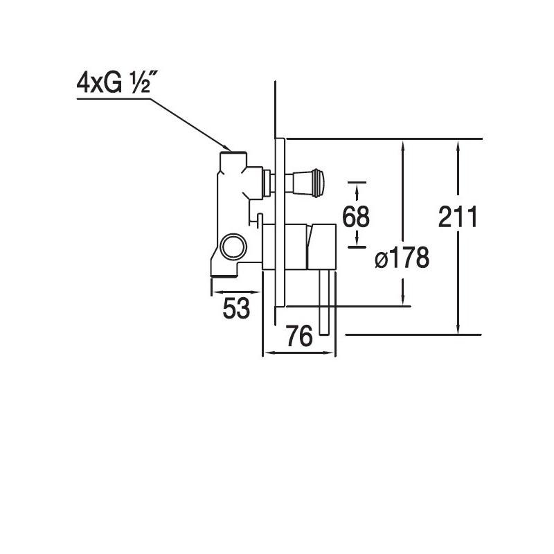 Blue Water DENVER DEN-BPD.220C bateria podtynkowa