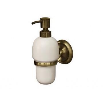 Bisk DECO Dozownik do mydła wiszący antyczny brąz/ceramika 02213