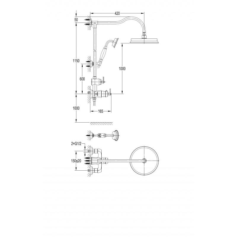 Omnires Armance AM5244/6 ORB zestaw termostayczny miedź antyczna