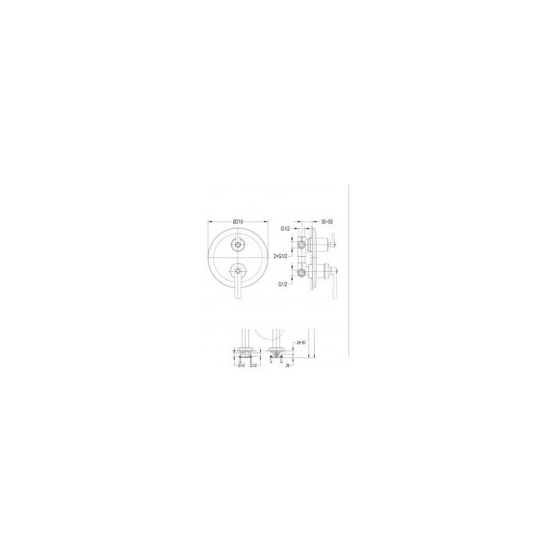 Omnires Armance AM5238/6  bateria podtynkowa 3 wyjściowa chrom